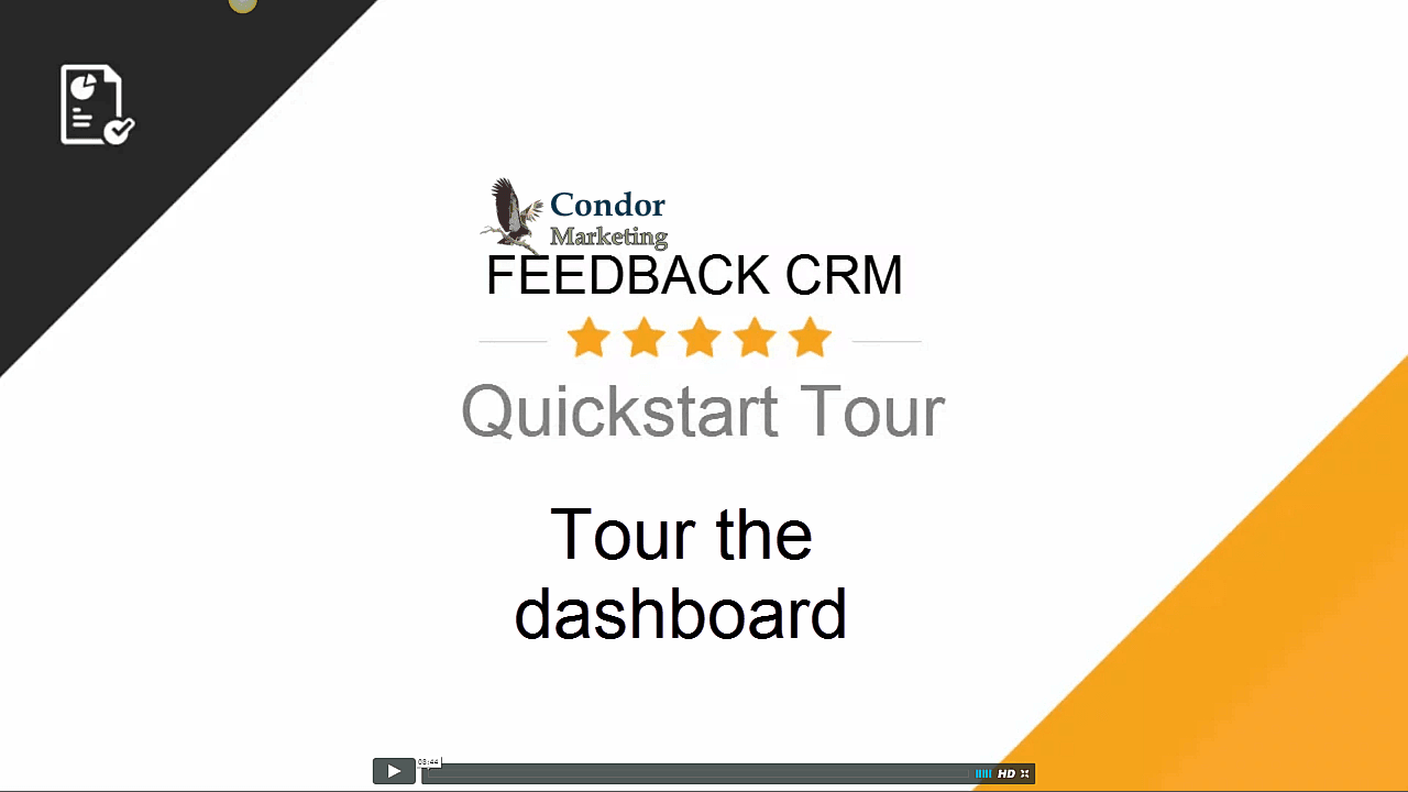 Tour Your CRM Dashboard;Adding Contacts;Sending Promotions;Adding Social Media Marketing;Positive Review Redirect Page;Negative Review Redirect Page